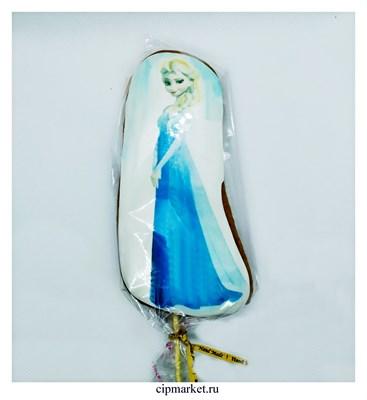 Пряник медовый Топпер Холодное сердце Эльза. Размер: 15 см. Вес: 80 гр. Лицензия - фото 9289
