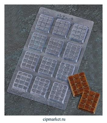 Форма для шоколада и конфет пластиковая Плитки шоколада. Размер: 22х13 см - фото 9346