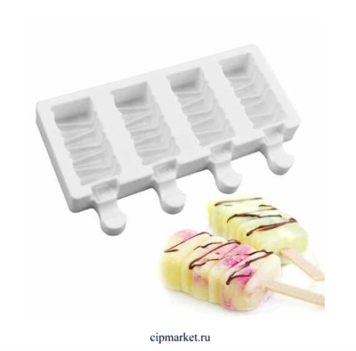 Форма силиконовая для мороженого Маракаибо Silikolove. Размер формы: 19,5х10 см. Размер ячейки: 3,2х6,8х2 см 4 шт - фото 9434