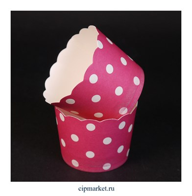 Стаканчики бумажные для кексов Малиновые в горох, набор 10 шт. Размер: 5х4,5 см - фото 9438