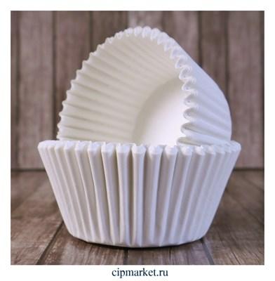 Формы бумажные для кексов Белые, набор 50 шт. Размер: 5х3,5 см - фото 9450