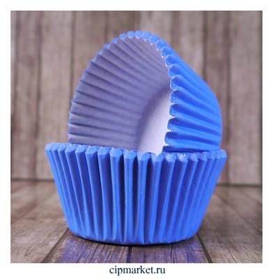 Формы бумажные для кексов Голубые, набор 50 шт. Размер: 5х3,5 см - фото 9452