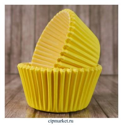 Формы бумажные для кексов Желтые, набор 50 шт. Размер: 5х3,5 см - фото 9454