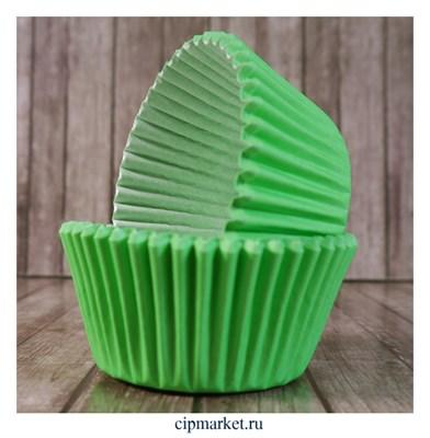 Формы бумажные для кексов Зеленые, набор 50 шт. Размер: 5х3,5 см - фото 9456