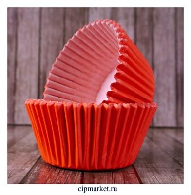 Формы бумажные для кексов Красные, набор 50 шт. Размер: 5х3,5 см - фото 9460