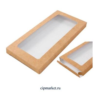 Коробка под шоколадку Крафт с окном 18х9х1,4 см - фото 9554