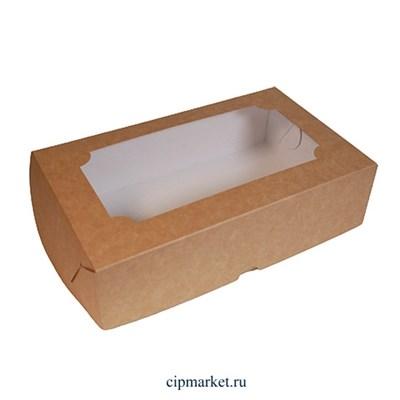 Коробка под зефир Крафт с окном. Размер: 25 х 15 х 7 см - фото 9556