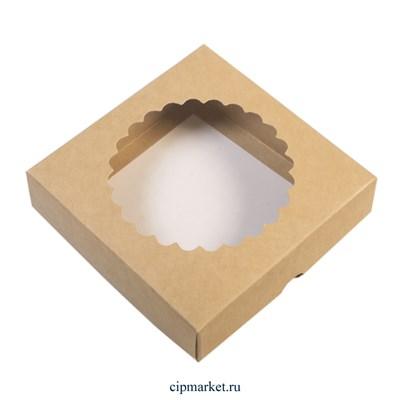 Коробка для пряников и сладостей с окном Крафт Ромашка. Размер : 12х12х3 см - фото 9558