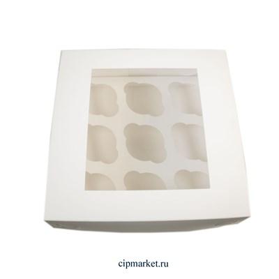Коробка на 9 капкейков с окном Белая (2 части). Размер: 25 х 25 х 10 см - фото 9561