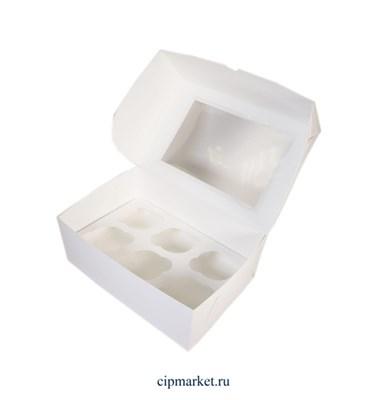 Коробка на 6 капкейков с окном Белая. Размер:  25х17х10 см - фото 9563