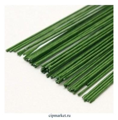 Проволока зеленая флористическая в оплетке 0,9 мм, длина: 36 см, 20 шт (№22) - фото 9572