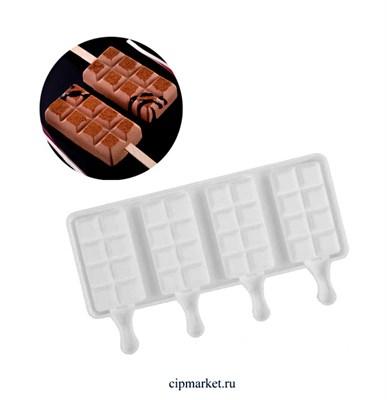 Форма силиконовая для мороженого Шоколадные плитки Silikolove 4 ячейки. Размер: 25,5х14см. Размер ячейки: 5х9 см - фото 9590