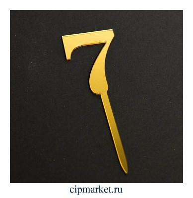 Топпер Цифра 7, золото. Размер: 3х5 см - фото 9772