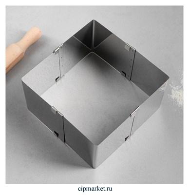 Форма для выпечки с регулировкой размера Квадратная, H-10 см, 10х10-18х18 см - фото 9881