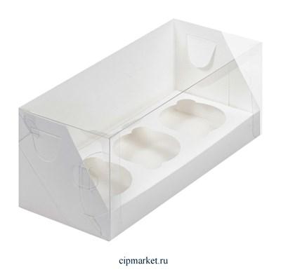 Коробка на 3 капкейка с пластиковой крышкой РК Белая . Размер: 24х10х10 см - фото 9913