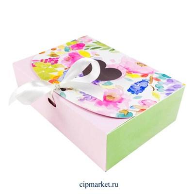 Коробка для пряников и сладостей Цветочная розовая с лентой. Размер: 16х11х5 см - фото 9938