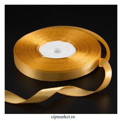 Лента атласная Золотая. Высота: 1 см. Длина 30 м - фото 9978