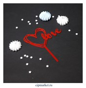 "Топпер ""Love"" Красный, 8х12 см"
