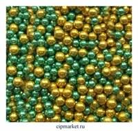 Шарики сахарные металлизированные Микс №7 (зелено-золотые), 5 мм. Вес: 30 грамм.