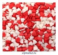 Посыпка Сердца красно-белые. Вес: 50 гр.