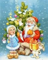 Съедобная картинка  Дед Мороз и Снегурочка № 058, лист А4. Вафельная/сахарная картинка.