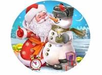 Съедобная картинка  Дед Мороз и Снеговик № 091, лист А4. Вафельная/сахарная картинка.