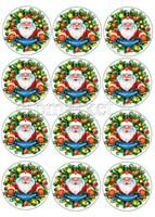 Съедобная картинка для капкейков Дед Мороз № 0130, лист А4. Вафельная/сахарная картинка.