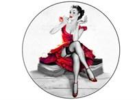 Съедобная картинка Девушка с зеркальцем № 01305, лист А4. Вафельная/сахарная картинка.