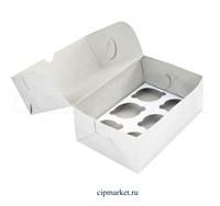 Коробка на 6 капкейков Эконом. Материал: картон. Россия. Размер: 25 х 17 х 10 см.