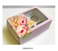 Коробка на 6 капкейков с окном Розовая РК (Розы), Размер: 23,5 х16 х10 см