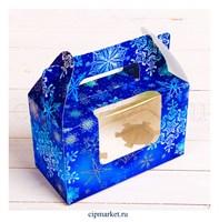 Коробка на 2 капкейка с окном №41 (Снежинки). Размер: 16 х 8 х 10 см.
