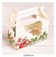 Коробка на 2 капкейка с окном №42 (Елка и игрушки). Размер: 16 х 8 х 10 см.