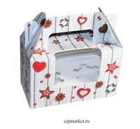 Коробка на 2 капкейка с окном  №40 (Сердца и звезды). Размер: 16 х 8  х 10 см.
