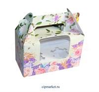 Коробка на 2 капкейка с окном  №33 (Цветы). Размер: 16 х 8  х 10 см.