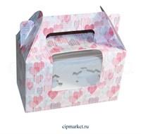 Коробка на 2 капкейка с окном  №39 (Сердца). Размер: 16 х 8  х 10 см.