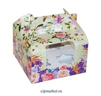 Коробка на 4 капкейка с окном МК (Цветы). Размер: 16 х 16  х 10 см.