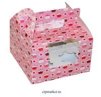 Коробка на 4 капкейка с окном МК (Кексы). Размер: 16 х 16  х 10 см.
