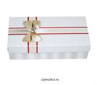 Коробка для конфет и сладостей №51 (Белая с бантом). Размер: 20 х 10  х 5,5 см.