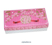 Коробка для конфет и сладостей №48 (Розовые розы). Размер: 20 х 10  х 5,5 см.