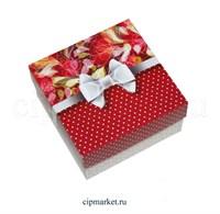Коробка для конфет и сладостей №47 (Красная с бантом). Размер: 10 х 10  х 5,5 см.