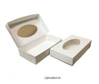 Коробка для пирожных, эклеров, зефира с окном резная РК (Белая). Размер: 24 х 14 х 5 см.
