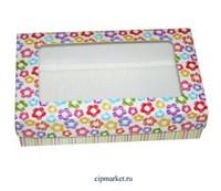 Коробка для пряников и сладостей с окном МК (Цветочки). Размер: 20*12*5 см.