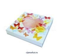 Коробка для пряников и сладостей  РП (Бабочки). Размер: 20*20*3 см.