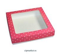 Коробка для пряников и сладостей с окном МК (Горошек). Размер:17*17*3,5 см