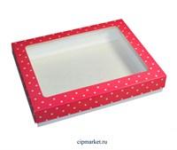 Коробка для пряников и сладостей с окном МК (Горошек). Размер: 21*17*3,5 см.