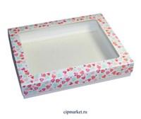 Коробка для пряников и сладостей с окном МК (Сердца). Размер: 21*17*3,5 см.