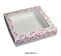 Коробка для пряников и сладостей с окном МК (Сердца). Размер: 17*17*3,5 см.
