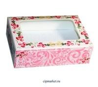 Коробка для пряников и сладостей с окном МК (Розы). Размер:14*9,5*4 см.