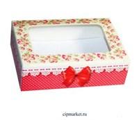 Коробка для пряников и сладостей с окном МК (Розы/бант).Размер:14*9,5*4 см. Вес:30 гр.