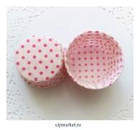 Формы бумажные гофре Горох розовый, набор 10 шт. Диаметр дна:5 см, высота:3,5 см.